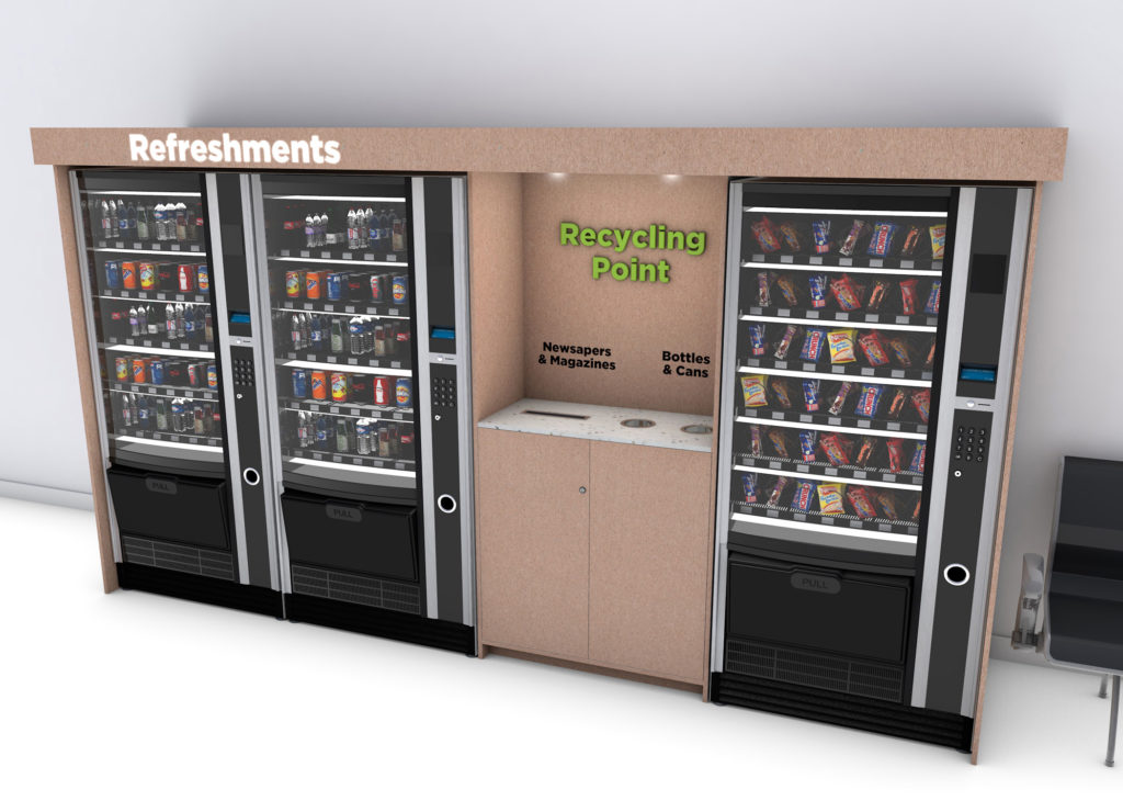 Recycling & reuse infrastructure for automatic vending